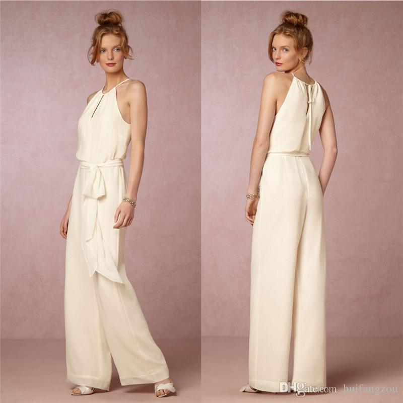 Cheap chiffon bridesmaids pant suits jewel neckline for Wedding dress pant suits