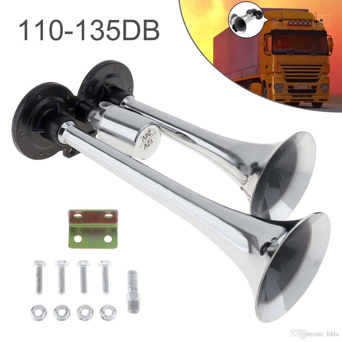 12V / 24V 110-135dB Cuerno de aire de tren de trompeta doble súper ruidoso para vehículo de vagón de tren AUP_436