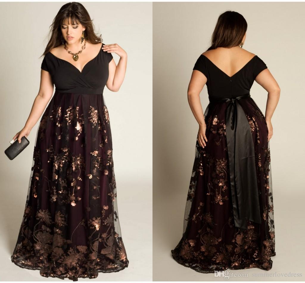Großhandel 2018 Black Lace Plus Size Abendkleider Aus Der Schulter ...