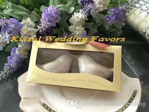Decoração de Casamento mais barato Presente do Amor aves Sal e Pimenta Shakers favores Do Casamento para lembrancinhas e lembranças de casamento = 100 caixas