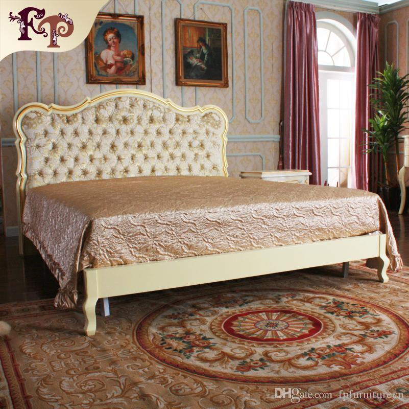 Mobilier de chambre de luxe européen - Lit français - Lit en bois massif  doré à la feuille d or