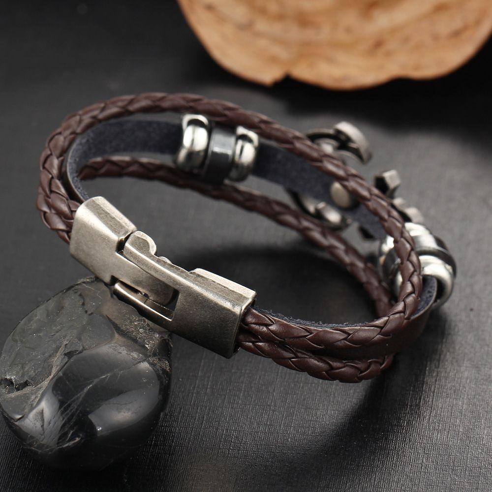 Black Friday Thanksgiving Multilayer weave leather stainless steel anchor punk bracelets 2018 hotsell whosale bracelets Best Gift bracelets