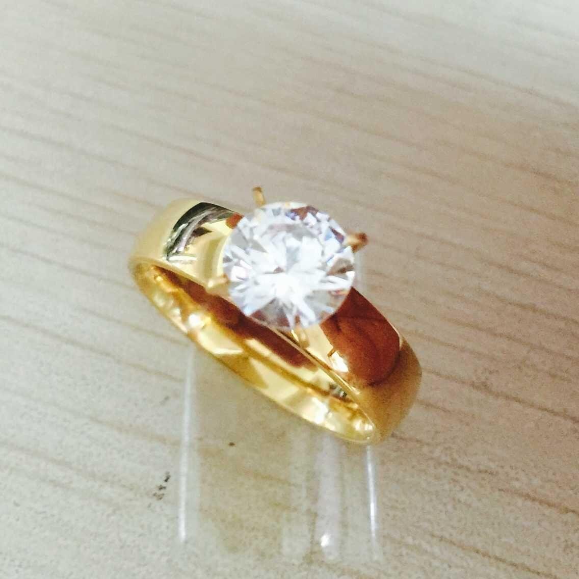 Grande zircão CZ diamante 18 k banhado a ouro anéis de dedo de aço inoxidável 316L casamento mulheres homens jóias lotes por atacado