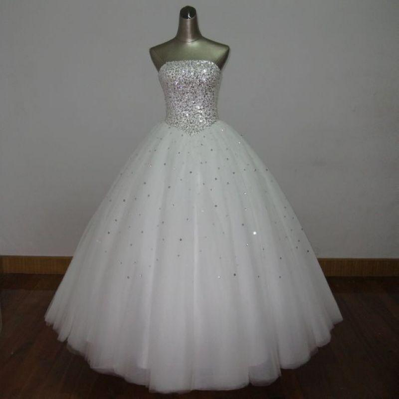 Ball Gown Strapless Beaded Soft Tulle Wedding Dress 2017 Floor Length Bridal Dress Lace Up Custom Made