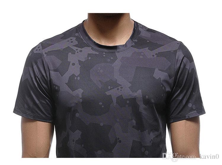 NEUE 2017 outdoor pro fitness Sport camouflage männer sport dünne männer kurzarm T-shirt schnell trocknend gedruckt stretch Oansatz bluse