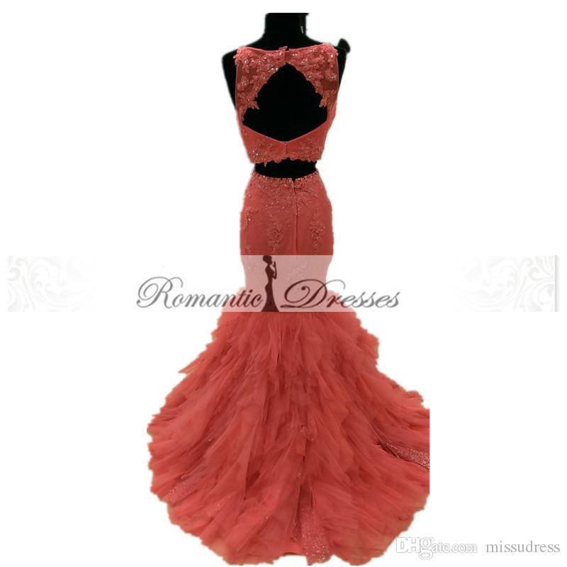2016 zwei Stücke Mermaid Prom Kleider Benutzerdefinierte Champagne Jewel Neck Perlen Spitze Appliques Rüschen Abendkleider Festzug Kleider