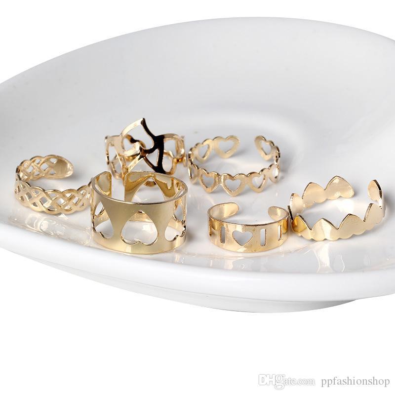 2017 고품질의 새로운 여성은 조합 반지, 너클 너클, 도매 패션 보석 반지의 육각 세트를 사랑한다