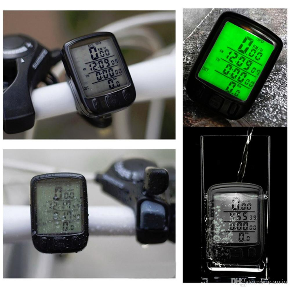Bicycle Wired LCD PC Odometer Speedometer Waterproof + Green Backlight Worldwide Store