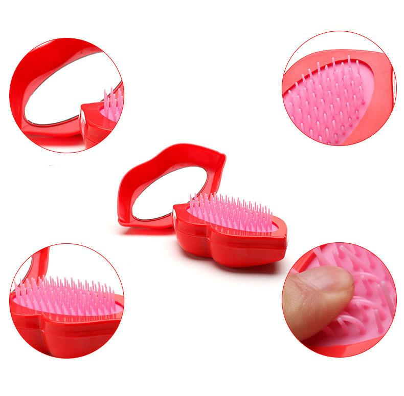 Women Sexy Lips Hairbrush Detangling Handle Tangle Fashion Shower Comb With Mirror Tamer Tools Sexy Hairbrush New Arrival