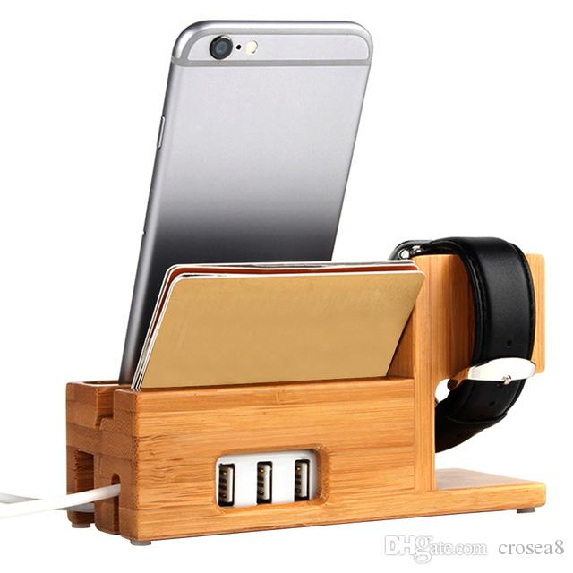 New 3 Port Usb Charger With Apple Watch Phone Organizer Stand Cradle Holder Desktop Bamboo Wood Charging Station For Iwatch Box