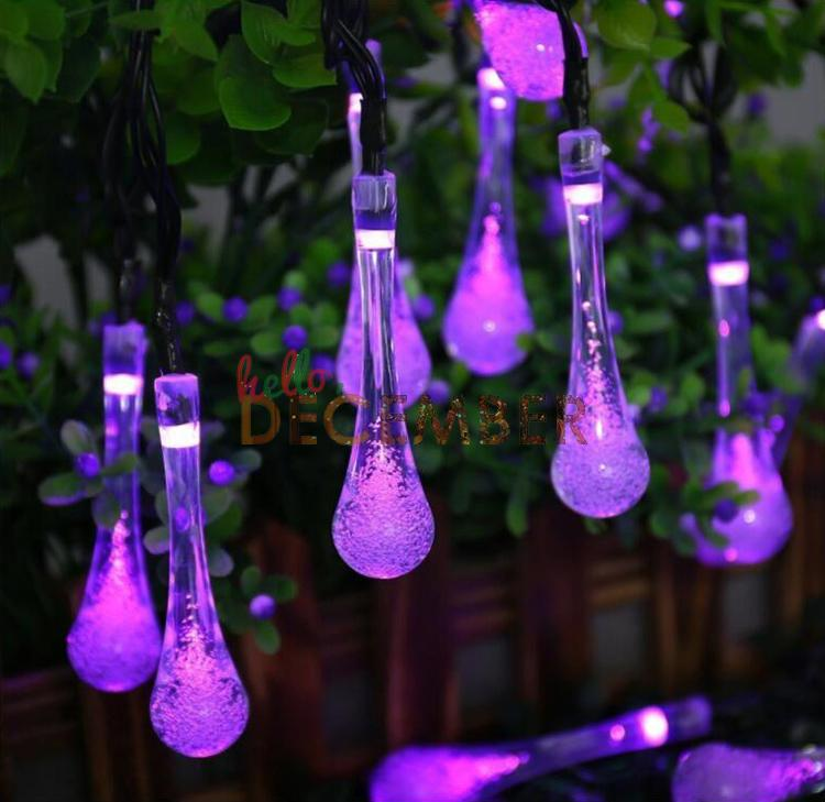 Outdoor Decorative LED Solar String Lights 6M 30 LEDs RGB/Blue/Red/Green/Pink/Purple/Warm/Cool LED Flash Water Drop String Lights