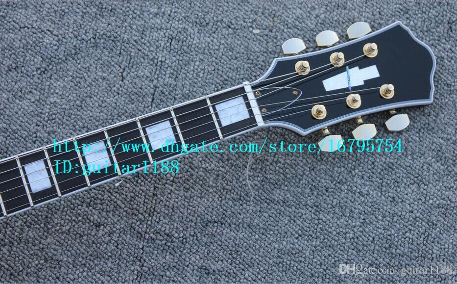 Frete grátis novo 6 cordas guitarra elétrica oco em laranja com corpo de mogno para a música jazz made in China LL12