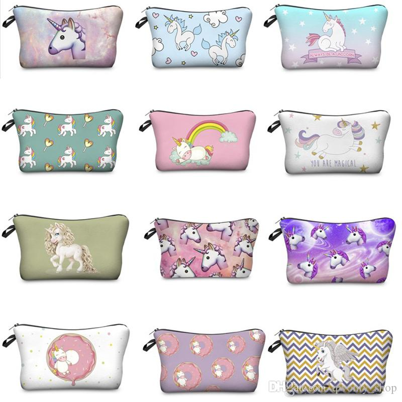 aa49471f0a326 Cartoon Unicorn Cosmetic Bags 3D Printing Women Necessary for Travel  Storage Makeup Fashion Accessories Gifts Unicorn Cosmetic Bags Unicorn  Storage Bags ...