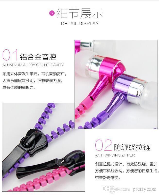 Zipper Headphone In Ear Headphone 3.5mm In-Ear Zip Earphone Control Talk Metal Earphones for phone mp3 mp4 player 2016 hot sale Freeshiping