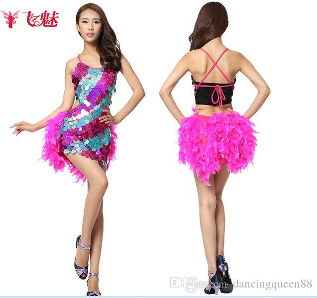 4b4e3584383 2019 2018 Latin Dance Costumes Feathers Sexy Ballroom Dresses Free Size Red  Tango Dress Sequin Lady Dancewear Dance Dress Latin Costume From  Dancingqueen88
