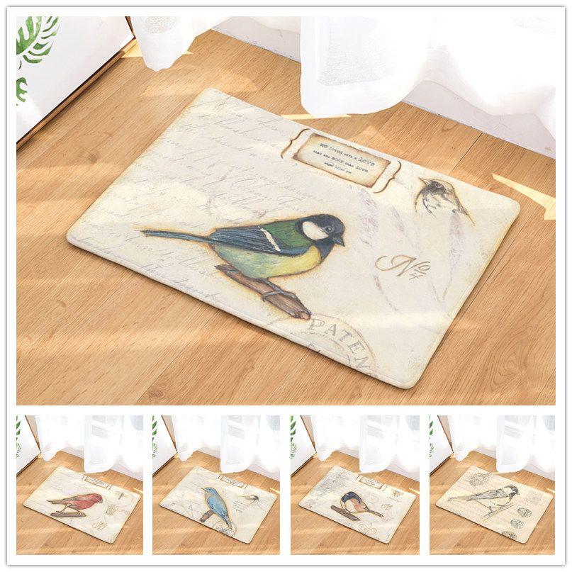 Animal Bird Retro Pattern Anti Slip Carpet Home Decor Doormat