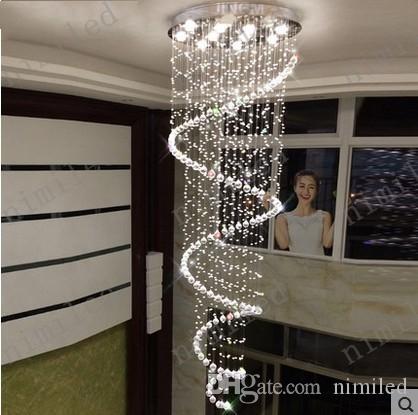 nimi1004 Dia 35-120 cm Duplex Escada De Cristal Lustre Espiral Lâmpada Casa Sala de estar Luzes Pingente Lobby Do Hotel Villa Showroom de Iluminação