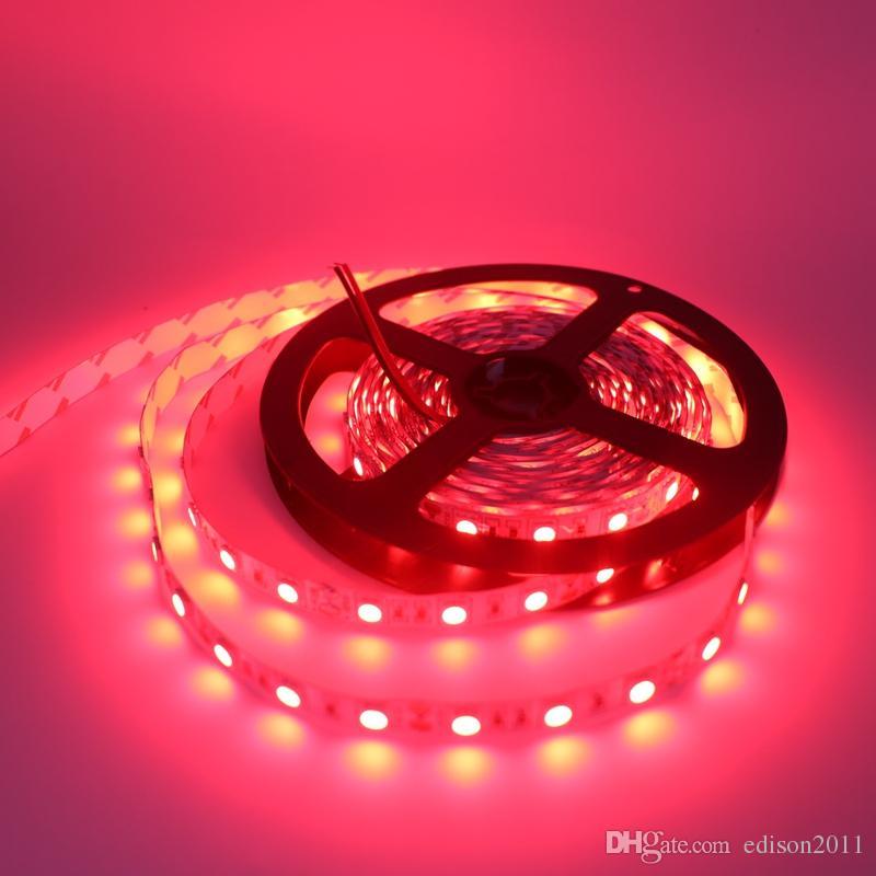 Şerit LED 5050 SMD 12V Esnek Işık 60led / M, 5m 300LED Beyaz / Beyaz Mavi / Yeşil / Kırmızı / Sarı RGB LED Işık Isınma