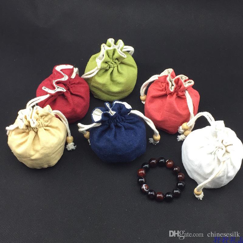 De fundo redondo bonito com cordão Bucket Bag de alta qualidade Plain algodão pano de linho pequena bolsa sacos de embalagem para presente de jóias saco de armazenamento /