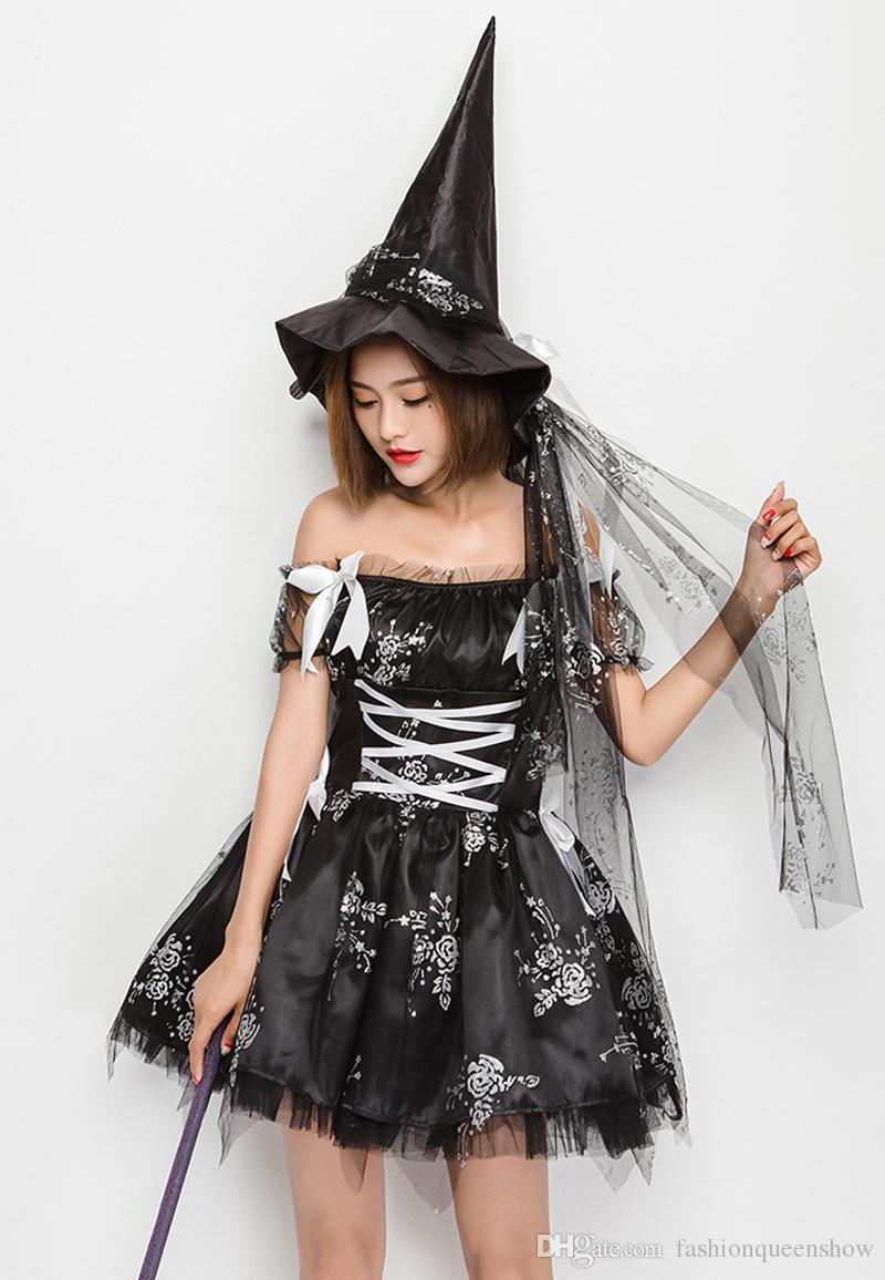 Schwarz Schöne Elf-Minikleid Frauen Halloween-Partei-Kostüm weg Schulter Sexy Tutu-Kleid Frech Witch Cosplay Kleid