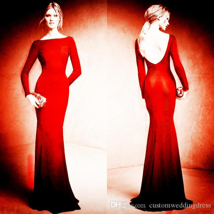 red long sleeves Evening Dresses 2017 high neck prom dresses backless mermaid Evening Gowns Celebrity dress