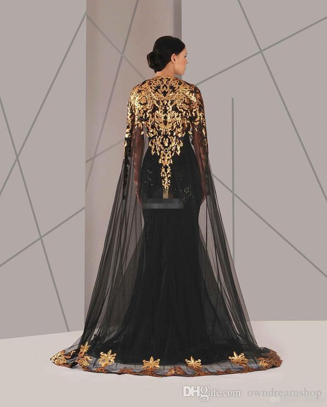 2019 abiti da sera musulmani arabi pizzo nero e oro con girocollo mantello plus size sirena usura formale usura lungo spettacolo prom dress