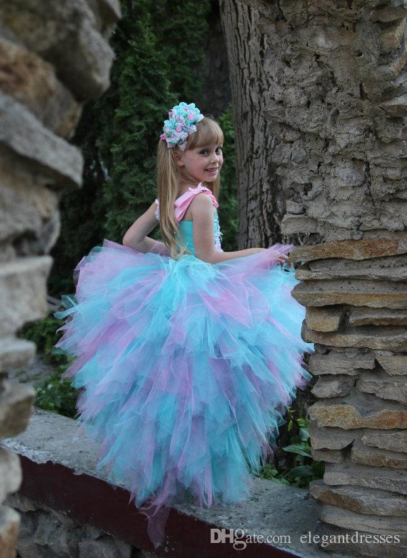 Pink Blue 11 Year Old Girl Dresses Lilla Party Dress Tutu Cheap Flower Girl Dresses