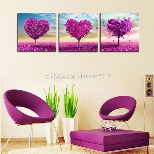 purple love tree abstract oil painting HD print landscape painting modern popular home decoration wall art pictures