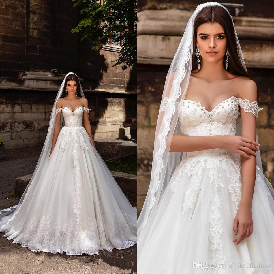 Discount 2017 Millanova Off Shoulder Lace Wedding Dresses Sweetheart ...
