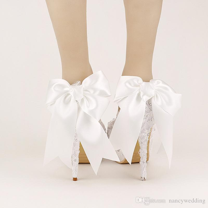 Sweet White Ribbon Bows Bridal Shoes High Heel Platform Shoes with Stiletto Wedding Shoes Handmade Comfortable Satin Women Shoes