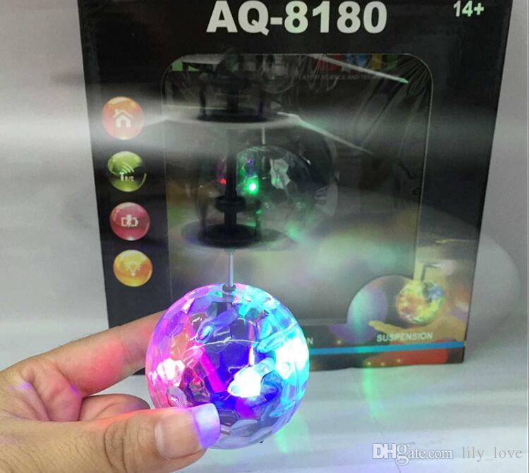 DHL AQ-8180 RC Flying Ball,RC Toy,RC infrared Induction Helicopter Ball Built-in Shinning LED Lighting for Kids, Colorful Flyings for Kid's