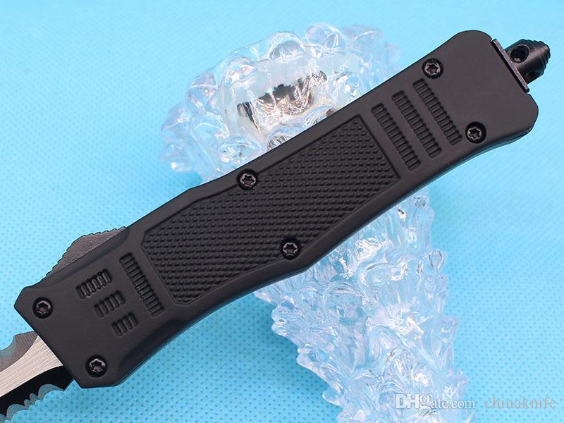 Promotion 7 pouces petits 616 tactique automatique Couteau 440C Double Action Fine Edge Titanium Lame EDC Couteaux de poche