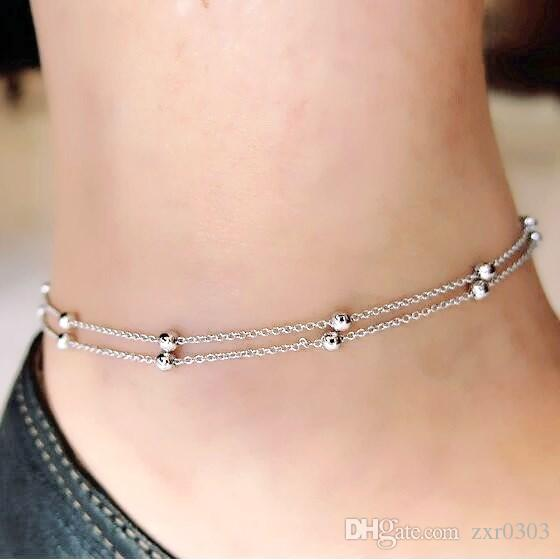 Европейская и американская торговля ювелирные изделия цепи бусины ножные браслеты для женщин двойной взрыв модели леди лодыжки браслеты для женщин подарок