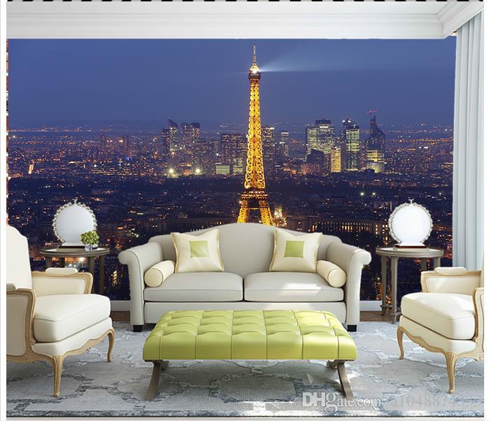 High end Custom 3d photo wallpaper murals wall paper Eiffel Tower Night Scene 3D living room wallpaper background wall home decor