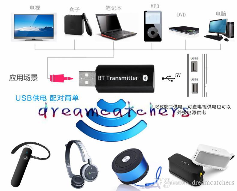 Bluetooth Audio Transmitter 3.5mm Wireless USB Music transmitter Stereo Dongle Adapter for iPhone 6s Samsung S7 Computer TV Tablet Speaker