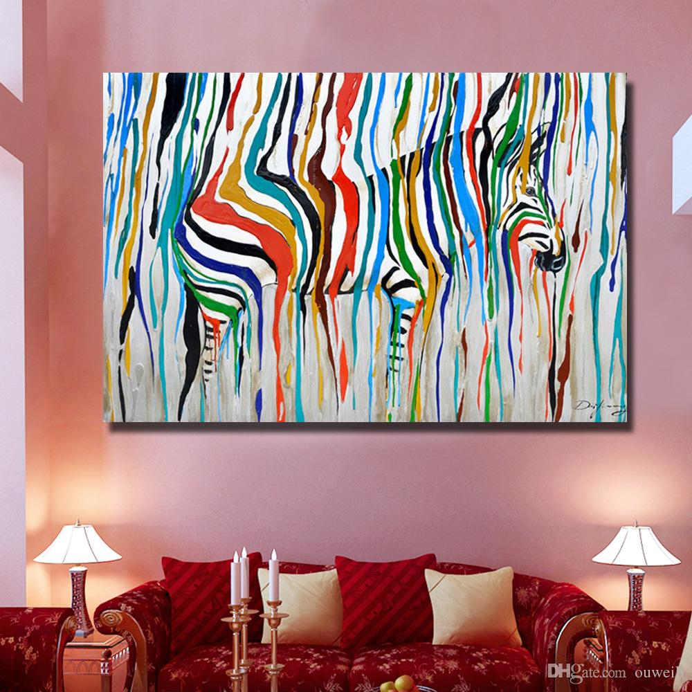 abstract design cartoon animal zebra oil paintings hand painted knife oil paintng decorative wall picture