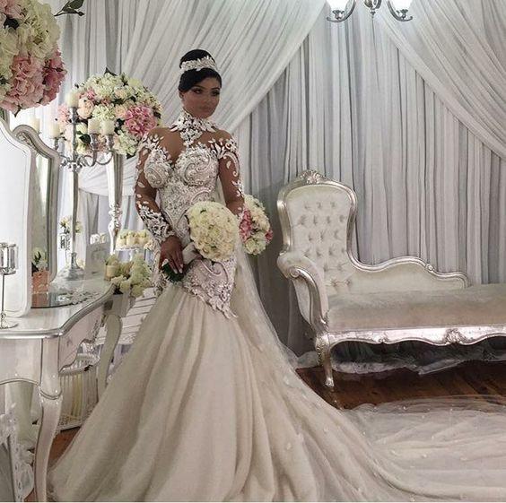 Azzaria Haute Plus Taille Illusion À Manches Longues Sirène Robes De Mariée Nigéria Col Haut Full back Dubaï Robe De Mariage Château Arabe