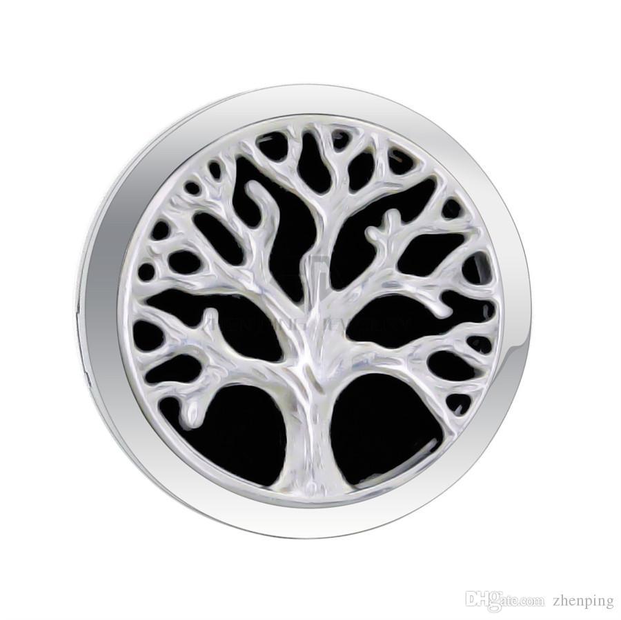 Серебряное дерево отливки 30мм магнитный Отражетель автомобиля медальон ароматерапии свободные пусковые площадки эфирное масло 316 медальонов Отражетеля автомобиля нержавеющей стали