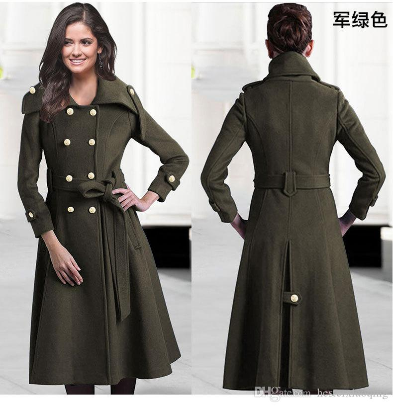 2017 Hot Selling Army Green Knee Length Women Winter Thick Wool ...