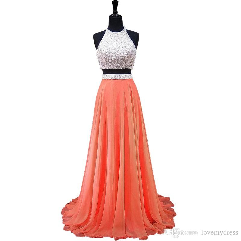 Elegant White Coral Chiffon Pearls Dresses Prom Evening Gowns Halter A line Backless Cheap Beaded Long Two Pieces Formal Pageant Dress
