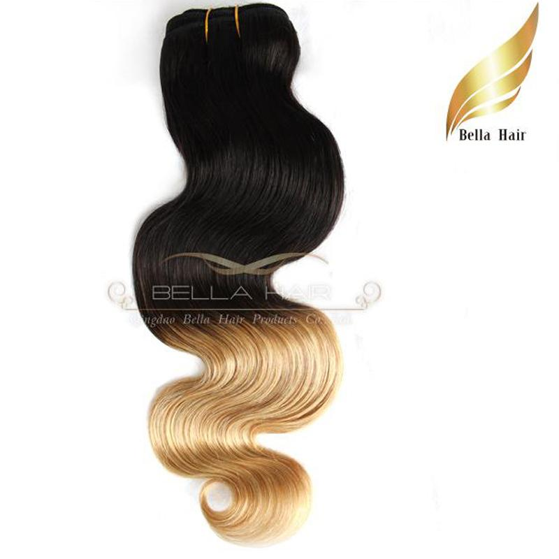 "Malaysian Hair Weaves Extensions Weft Ombre Human Hair Dip Dye Two Tone #T1B/#14""-26"" Body Wave Wavy Bellahair 7A"