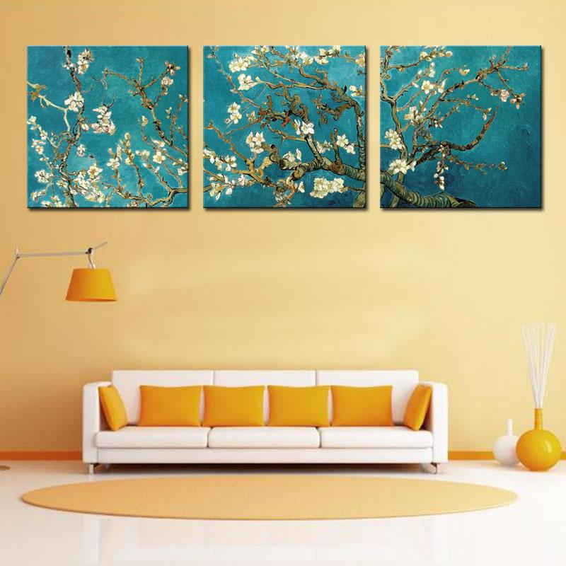 2018 Canvas Painting Wall Art Realist Apricot Blossom Figure Of Van ...