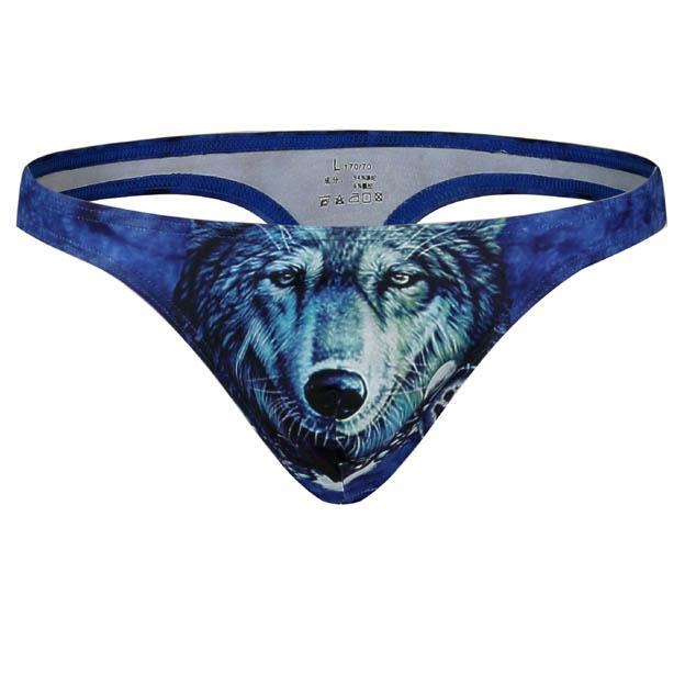 WJ Brand 2018 New Mens Thong G Strings Underwear With 3D Tiger Wolf Printing Sexy Gay Bikini Slim fit Male Thong Underpants