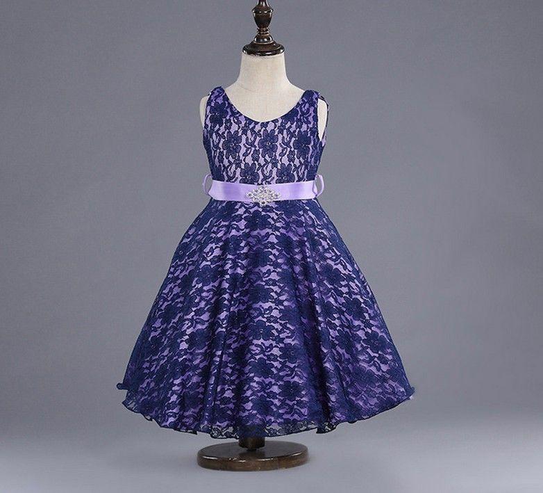 Belle neonate Abiti Vendita calda Abiti di Gilr Piuttosto pizzo Diamond cintura Vest Dress Multi colori Bambini Dress Party Dance Wear 9411