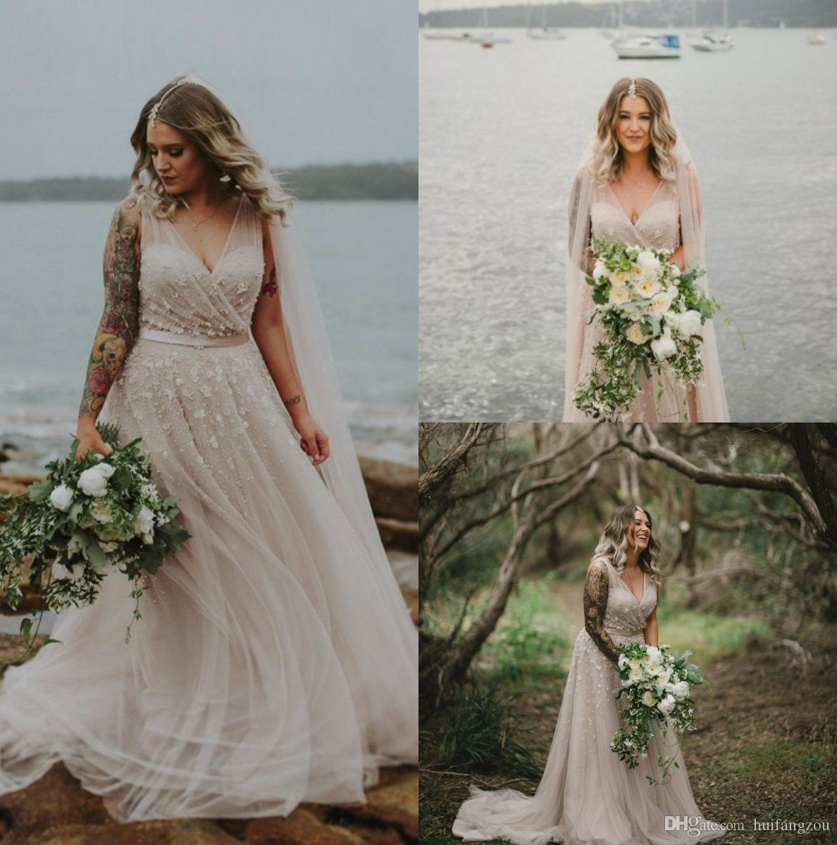 16217f6ace555 Discount Plus Size A Line Wedding Dresses China V Neckline 3D Floral  Appliques Bridal Gowns Cheap Sweep Train Custom Made Wedding Gown A Line  Vintage ...
