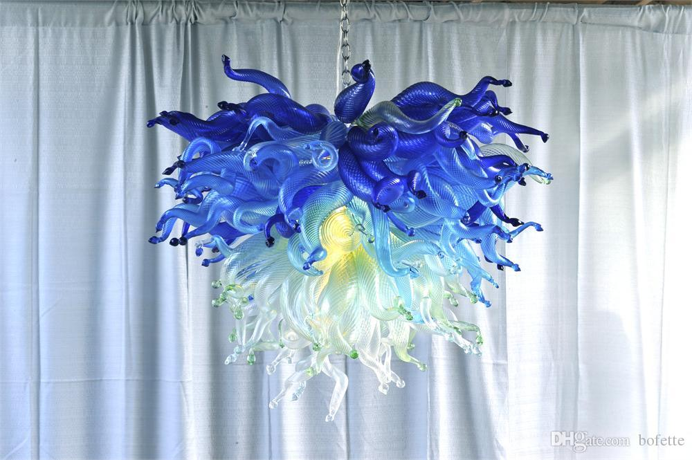 House Decor Blue and Green Blown Glass Chandelier Glossy Art Glass Decoration Ceiling Lighting