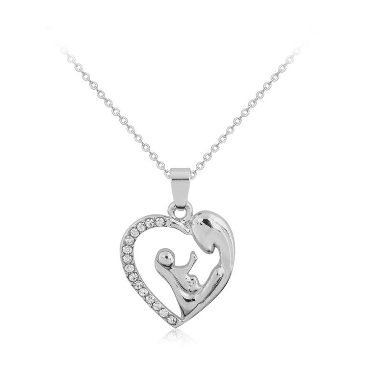 Wholesale fashion mothers day gift mother daughter mom baby child wholesale fashion mothers day gift mother daughter mom baby child family love rhinestone heart shaped pendant necklace for mom gold pendants for necklaces aloadofball Images