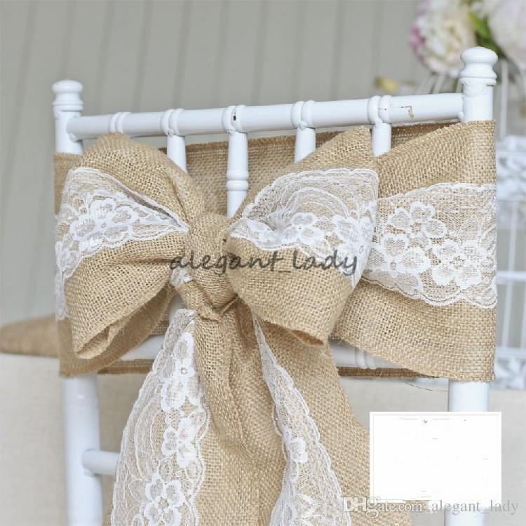 240x15 cm Lace Bowknot Serapilheira Cadeira Sashes Natural De Juta De Linho De Juta Linho Rústico Cadeira Tie Bowknot para Cadeira de Casamento Decoração DIY Artesanato
