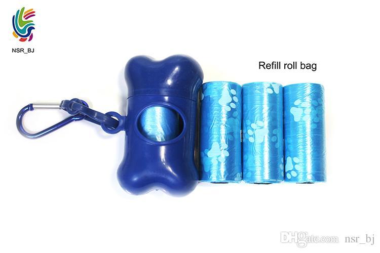 Blue Pet Bone Dispenser mit 15 Taschen und 1 Karabiner Leichte Hundekotbeutel Case Holders Nachfüllrolle Trägerhaken an der Leine