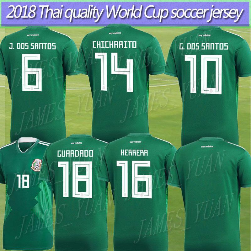 2019 Mexico Jerseys 2018 World Cup CHICHARITO Home Green G.DOS SANTOS R. MARQUEZ C VELA Thai Quality Mexico Soccer Jersey Football Shirt Uniforms  From ... 79863e5c6